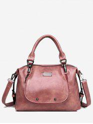 Solid Leather Boston Bag -