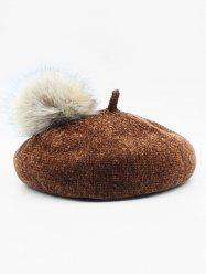 Solid Fuzzy Ball Beret Hat -