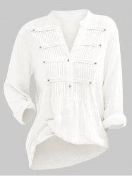 Solid Half Buttoned Pintuck Plus Size Blouse -