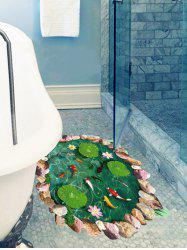Lotus Pool Fishes Print Decorative Floor Art Sticker -