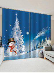 2 Panels Christmas Tree Forest Snowman Print Window Curtains -