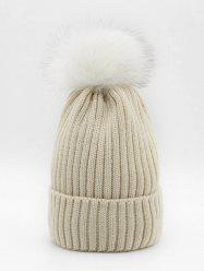 Fuzzy Ball Fluffy Solid Knit Cap -