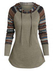 Raglan manches imprimé tribal Sweat à capuche -