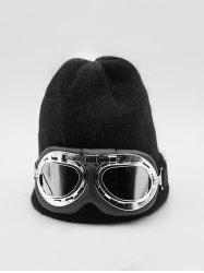 Winter Goggles Decorative Solid Knitted Hat -
