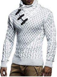 Shawl Collar Snap Button Pullover Sweater -