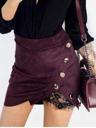 Lace Panel Button Embellished Mini Skirt -