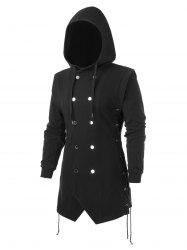 Plus Size Lace Up Solid Button Hooded Coat -