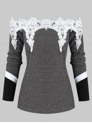 Lace Panel Off Shoulder Knitted Sweater -
