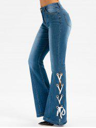 Lace Up High Waist Flare Jeans -