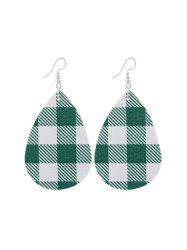Plaid Print Leather Water Drop Earrings -