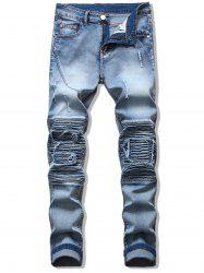 Pleats Patchwork Spliced Ripped Jeans -