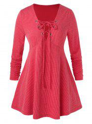Plus Size Lace Up nervuré Grommet A Knitwear ligne -