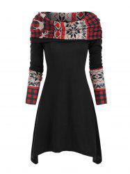 Christmas Elk Plaid Knitted Multiway Mini Dress -