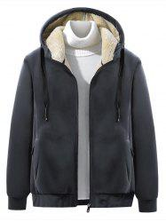 Solid Color Plush Hooded Jacket -