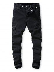 Solid Color Pocket Decoration Casual Jeans -