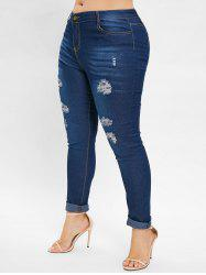 Plus Size Distressed Skinny Jeans - Bleu L