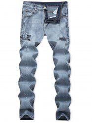 Ripped Painting Dots Scratch Casual Jeans -