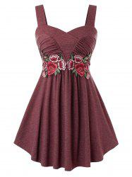 Plus Size Flower Embroidered Sweetheart Tank Top -