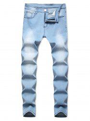 Light Wash Zip Fly Casual Jeans -
