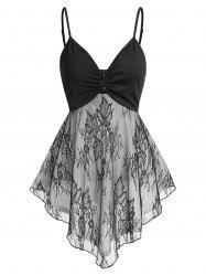 Lace Panel Ruched Asymmetric Tank Top -