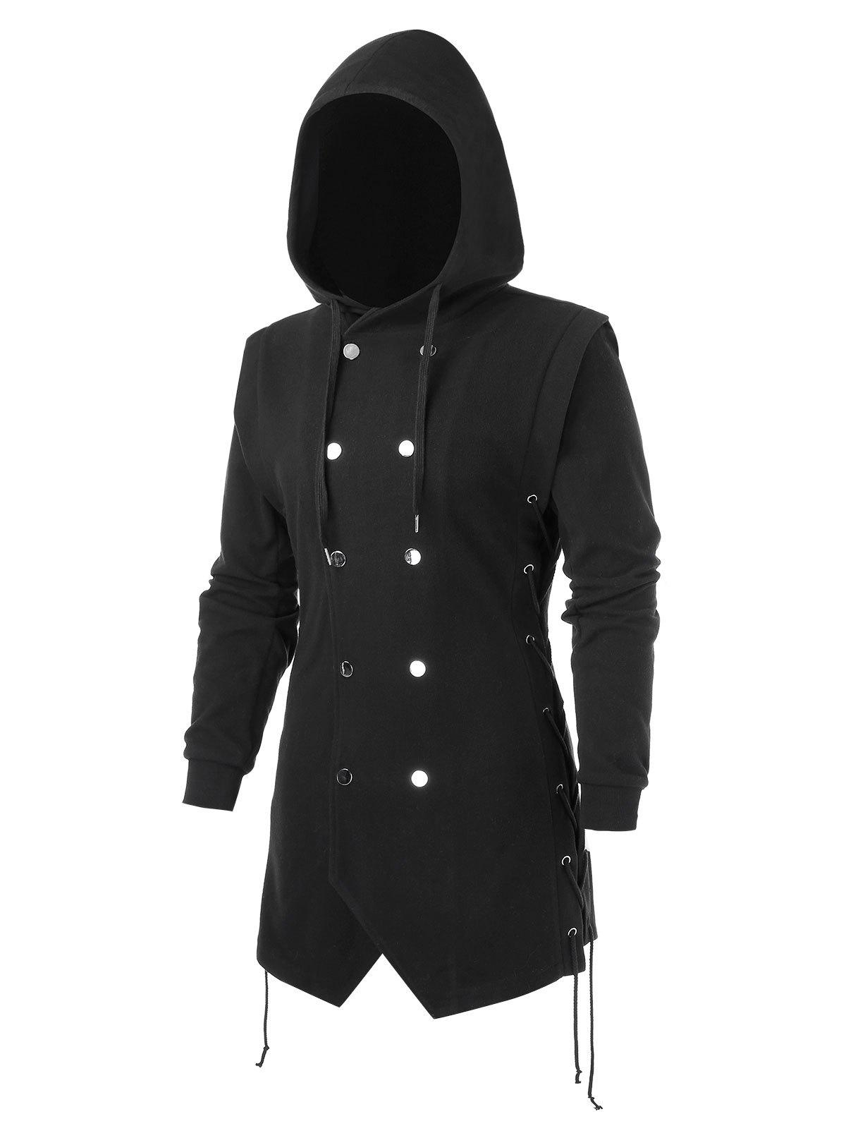 Outfits Plus Size Lace Up Solid Button Hooded Coat