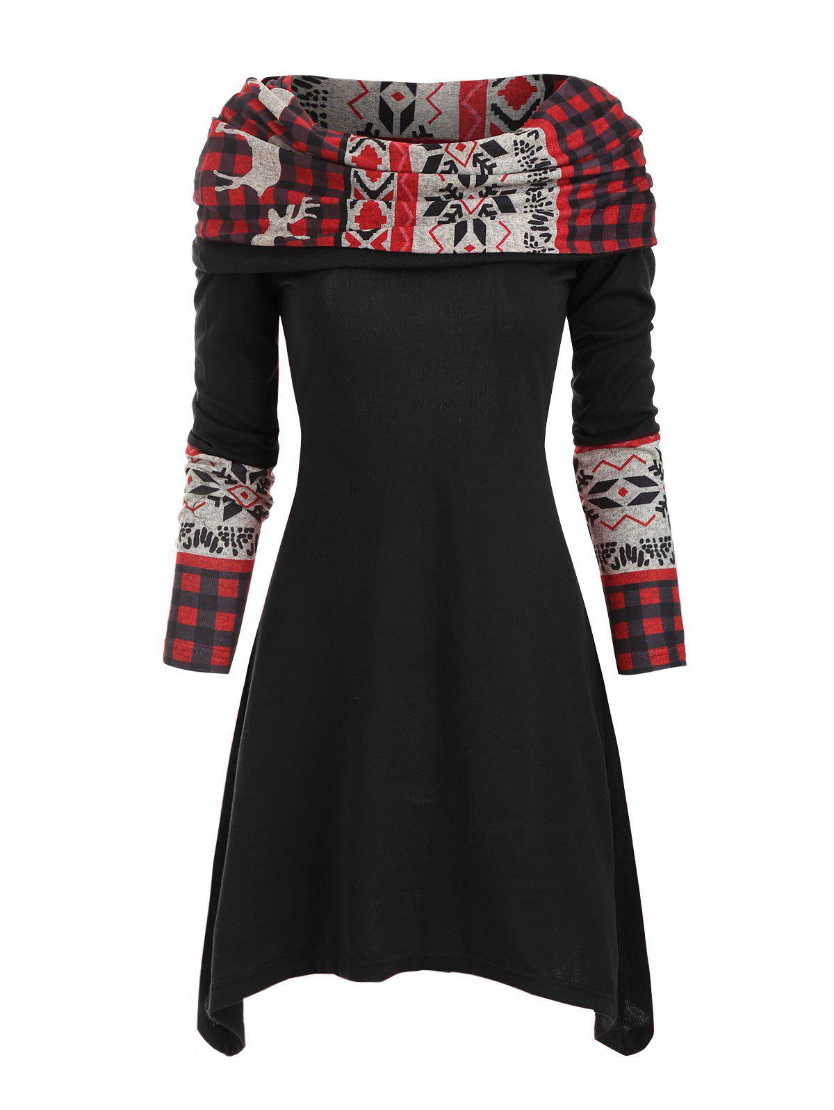 New Christmas Elk Plaid Knitted Multiway Mini Dress