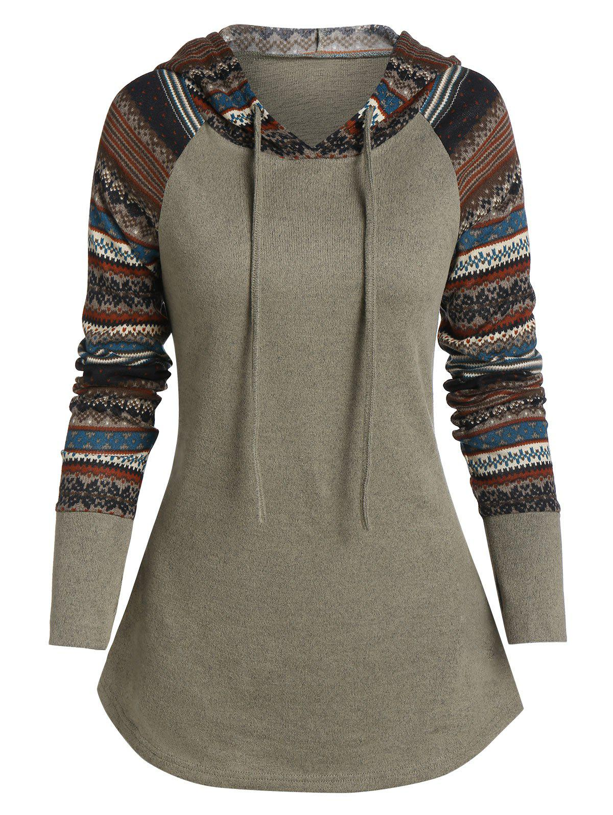 Raglan manches imprimé tribal Sweat à capuche