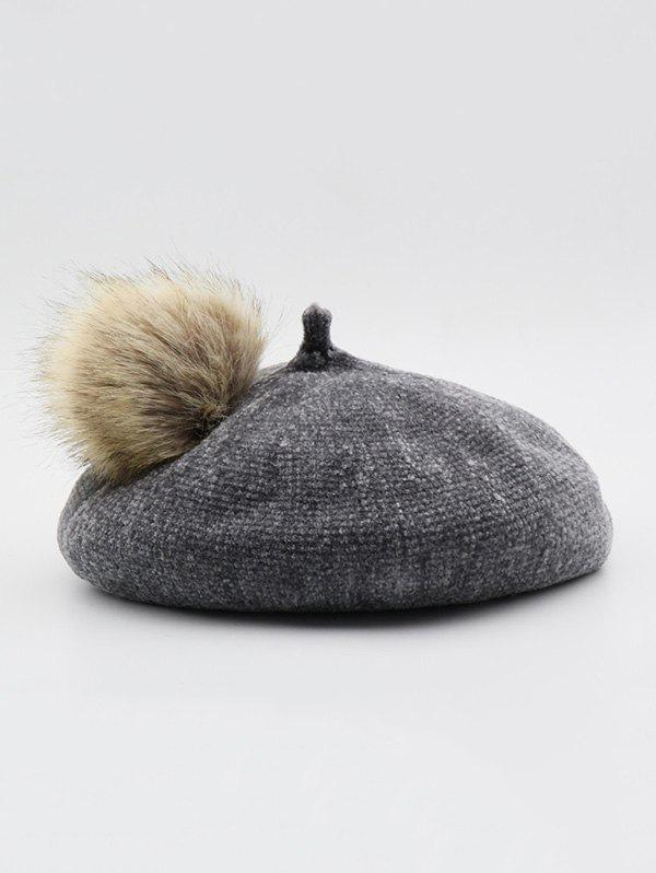 New Solid Fuzzy Ball Beret Hat