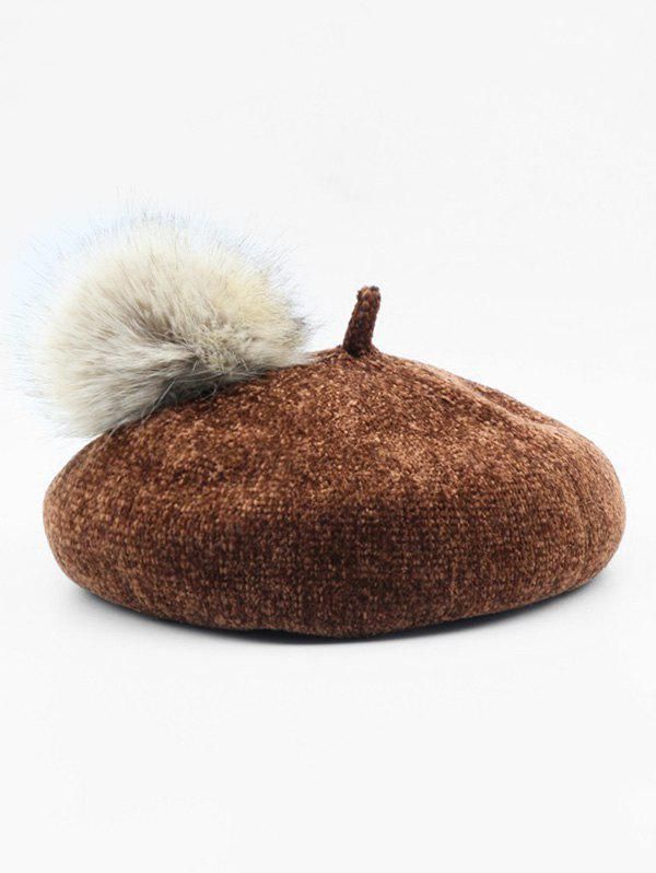 Shops Solid Fuzzy Ball Beret Hat