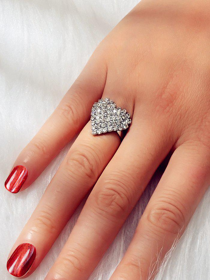 Hot Full Rhinestone Heart Finger Rings