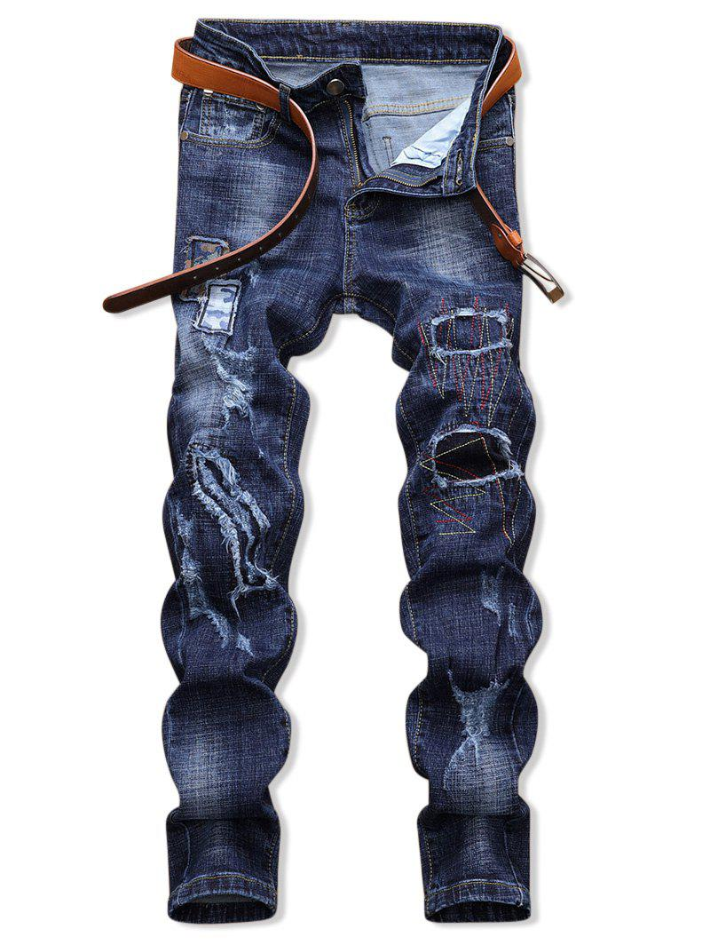 Discount Patchworks Ripped Decoration Zip Fly Jeans