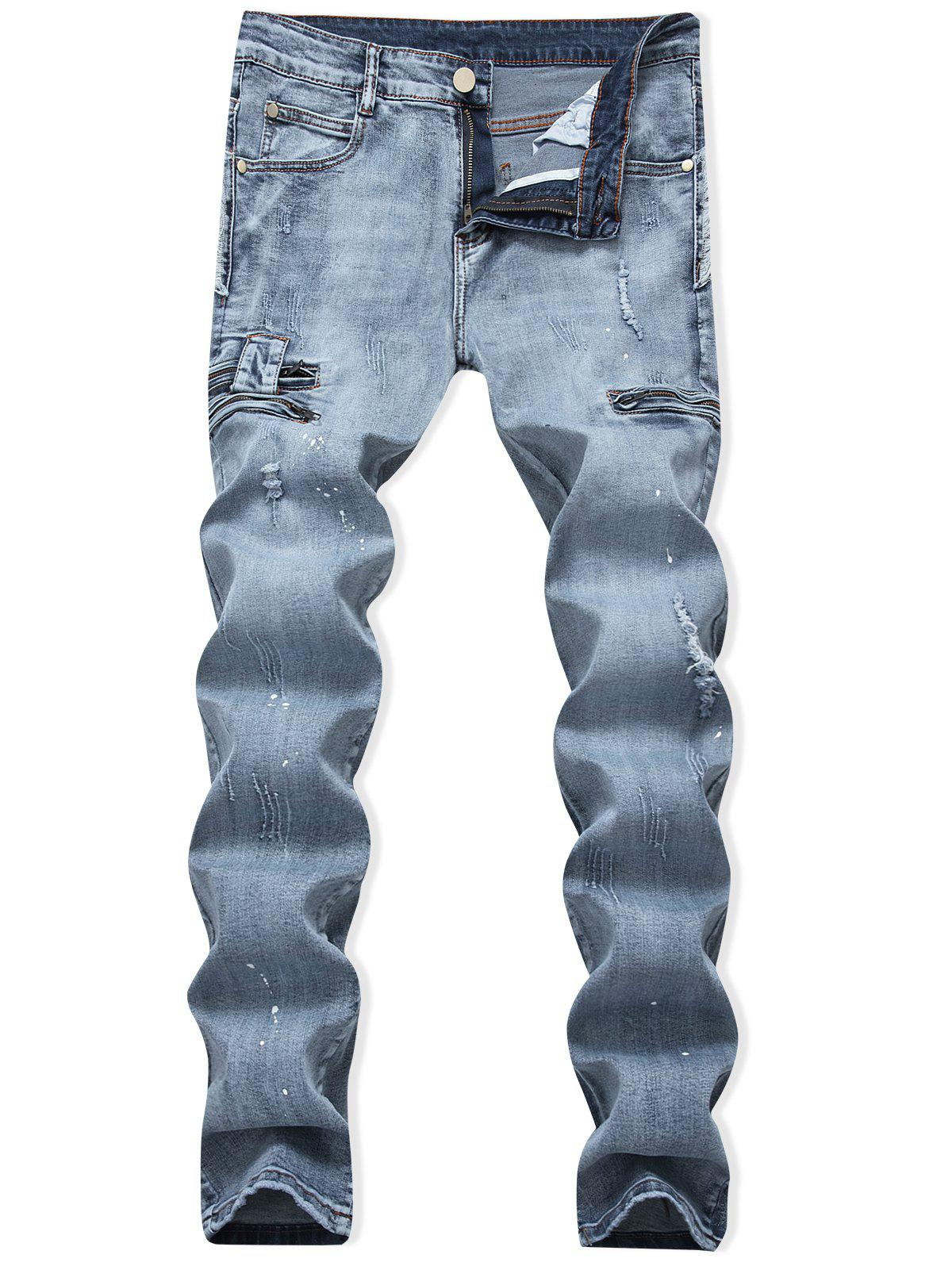 New Ripped Painting Dots Scratch Casual Jeans