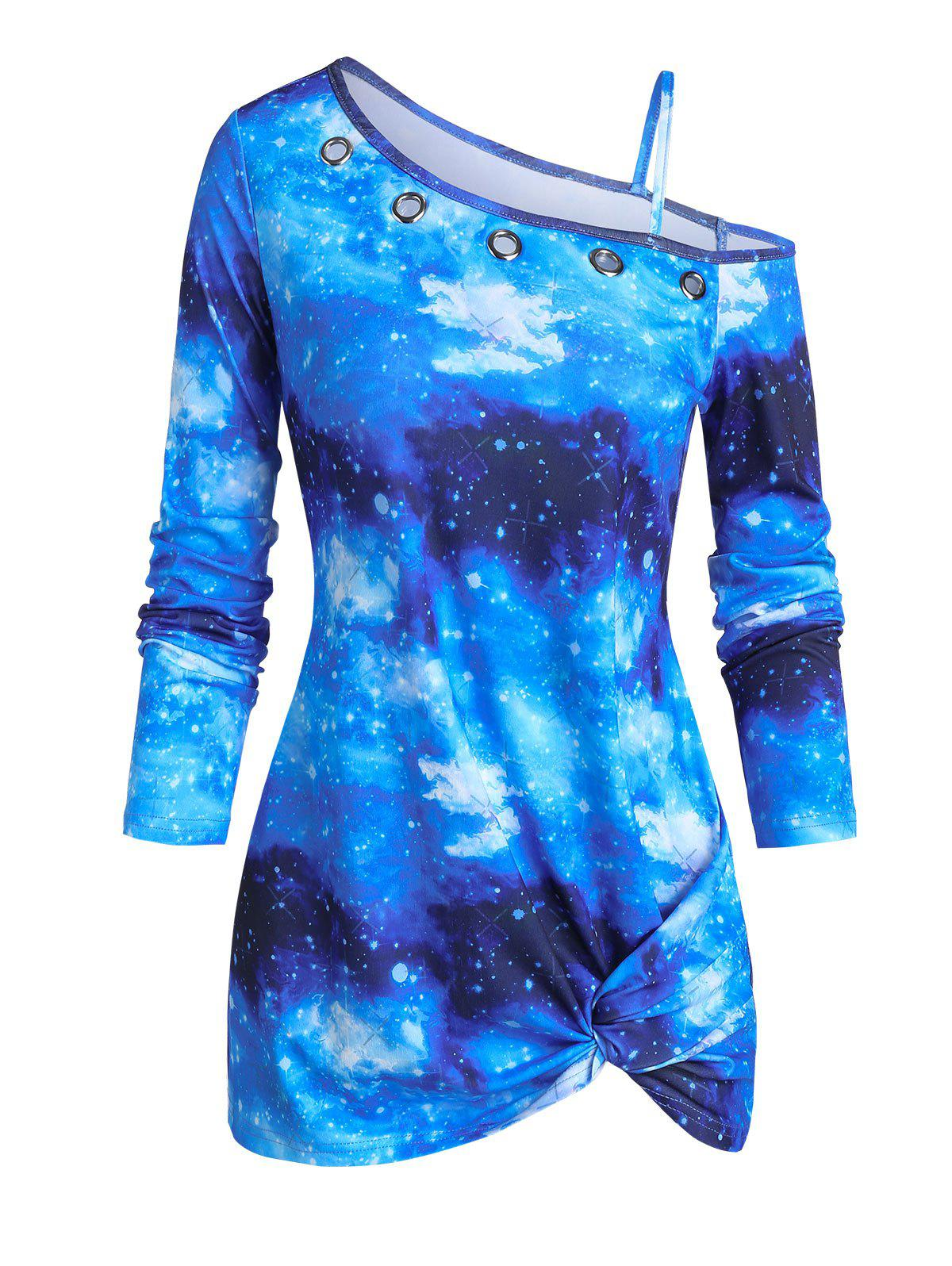 Sale Galaxy Print Front Twist Skew Neck T Shirt