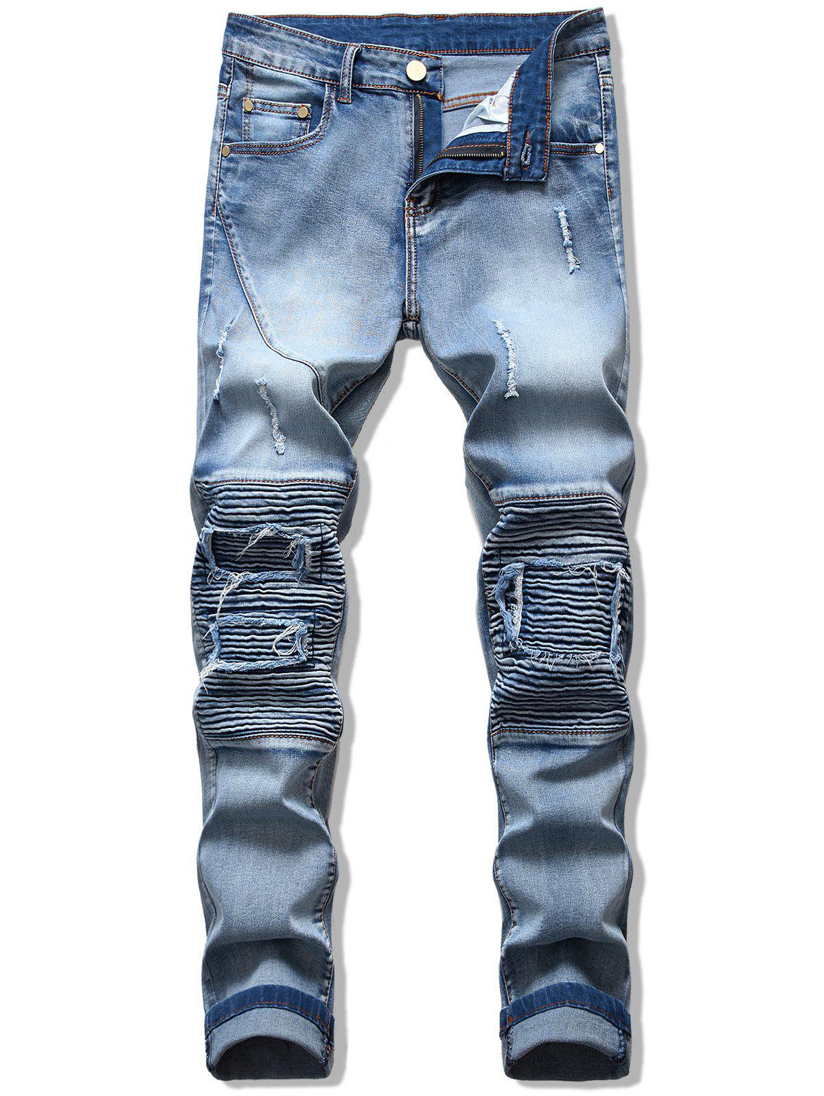 Outfit Pleats Patchwork Spliced Ripped Jeans