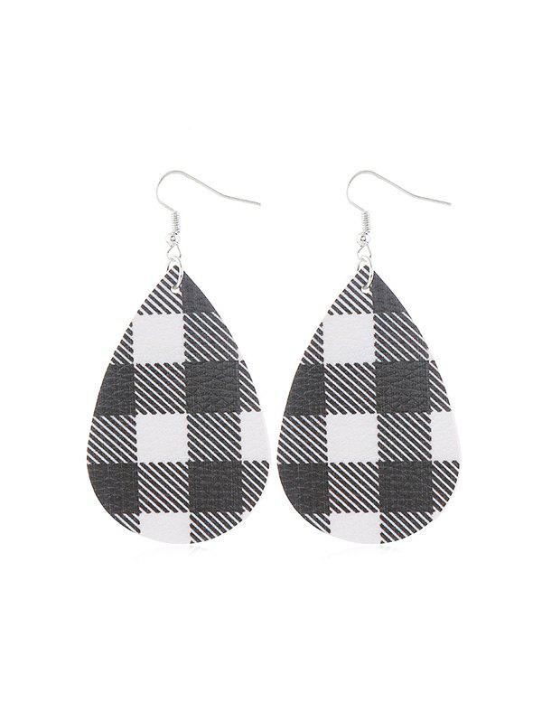 Outfits Plaid Print Leather Water Drop Earrings