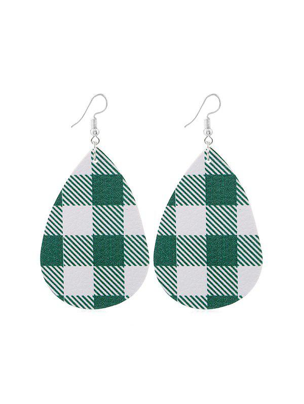 Chic Plaid Print Leather Water Drop Earrings