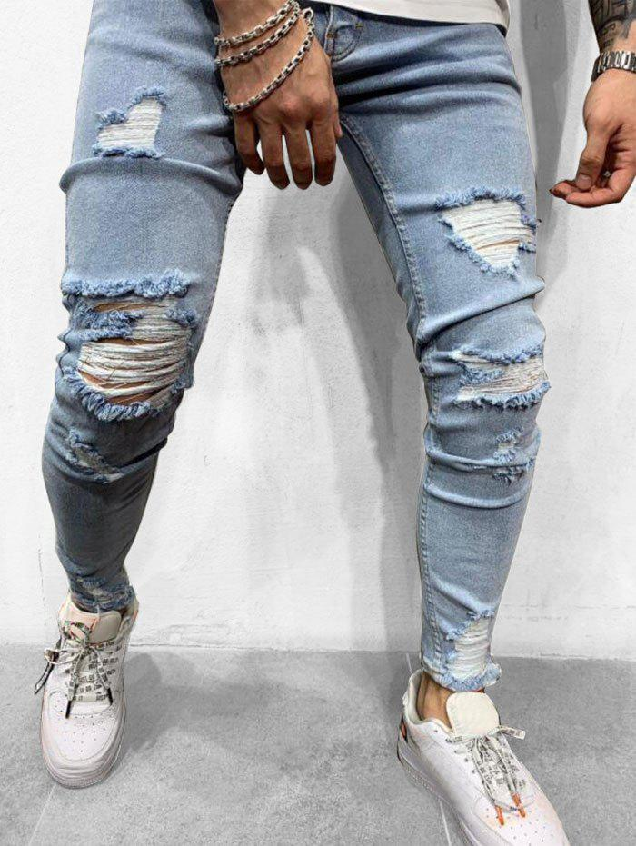 Détruit Casual Ripped Zipper Fly Jeans Bleu Léger  L