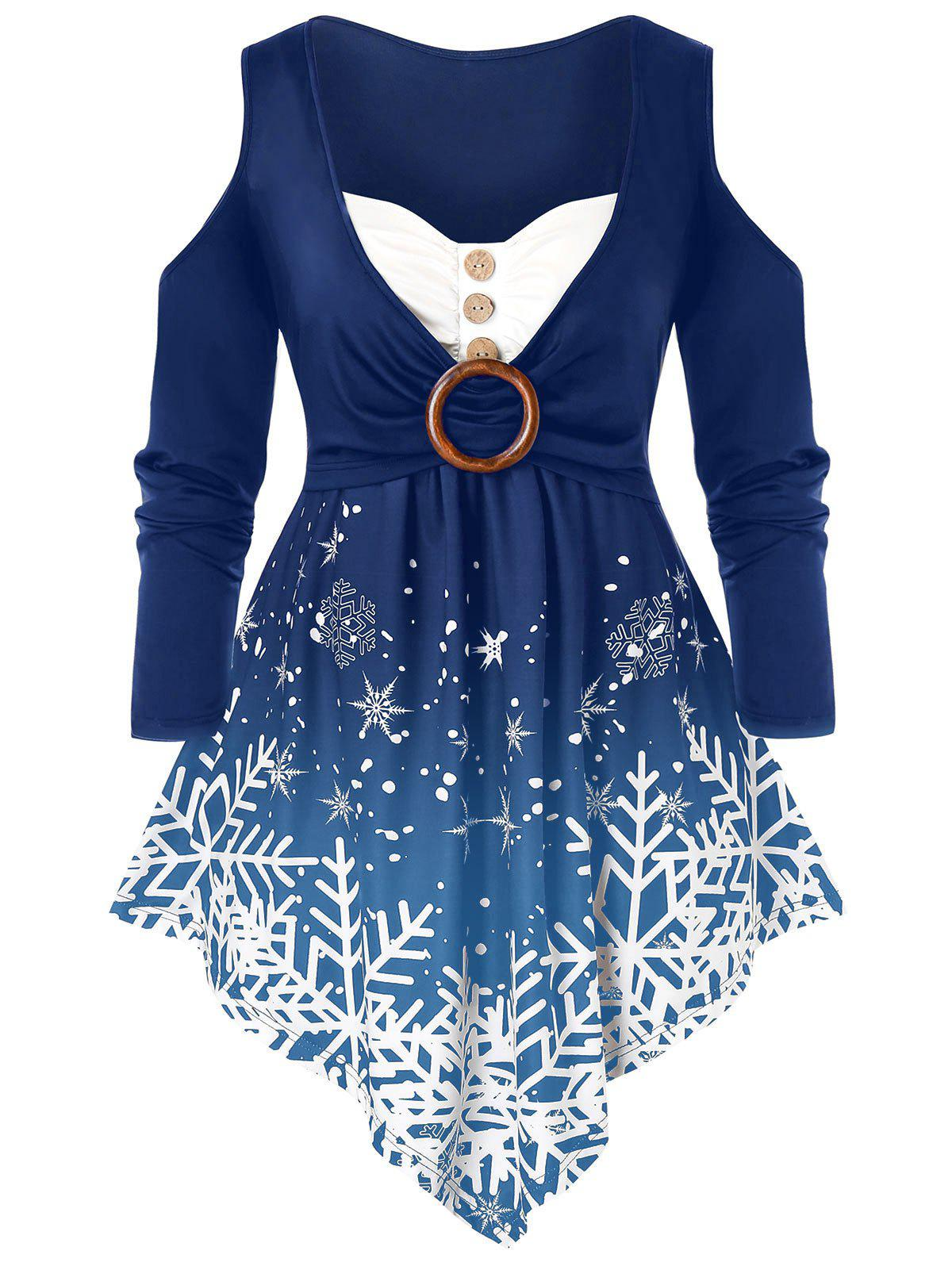 Chic Plus Size Christmas Snowflake Cold Shoulder Ring Tunic Tee