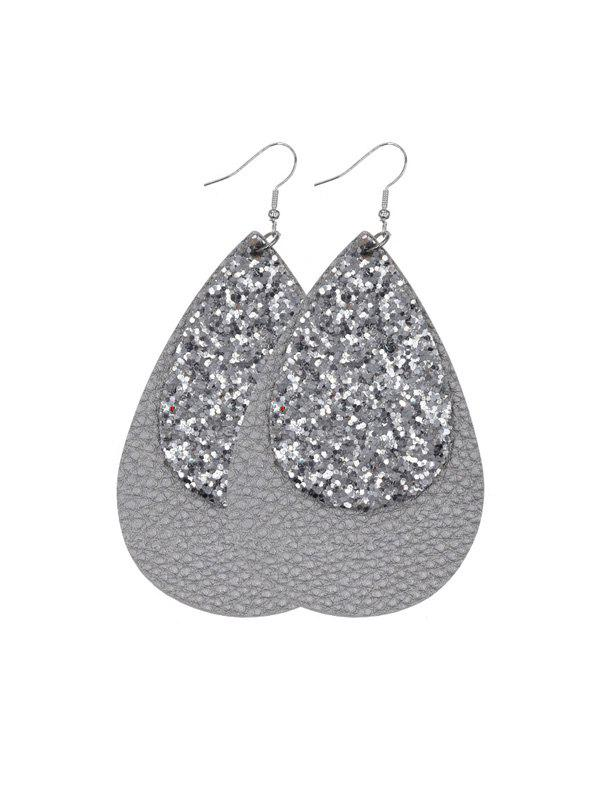 Store Glitter Leather Layers Water Drop Earrings