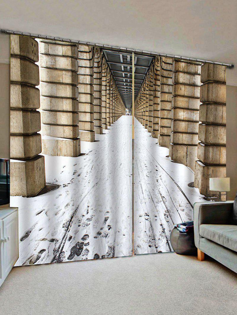 Online 2 Panels Snow Corridor Print Window Curtains