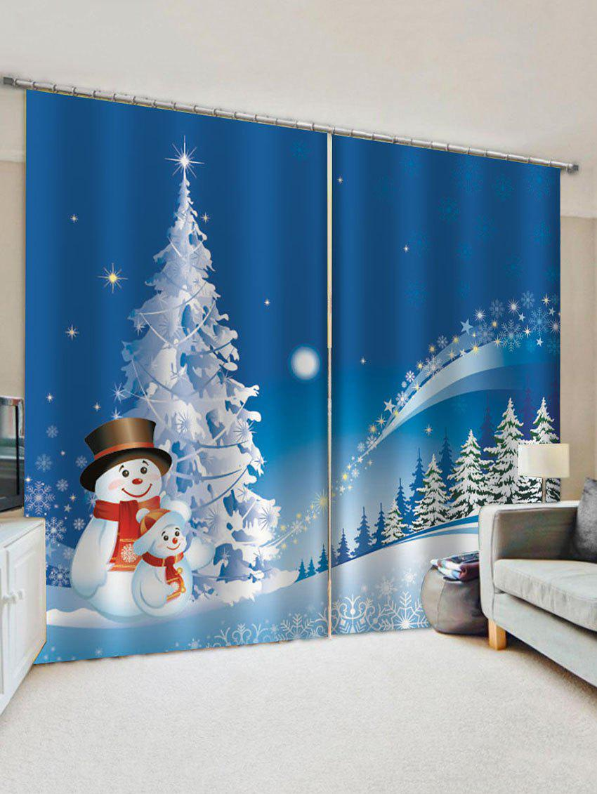 Store 2 Panels Christmas Tree Forest Snowman Print Window Curtains