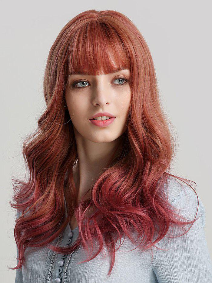Unique Neat Bang Synthetic Long Wavy Wig