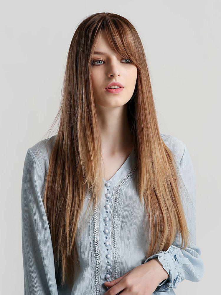 Cheap Side Bang Long Straight Ombre Synthetic Wig