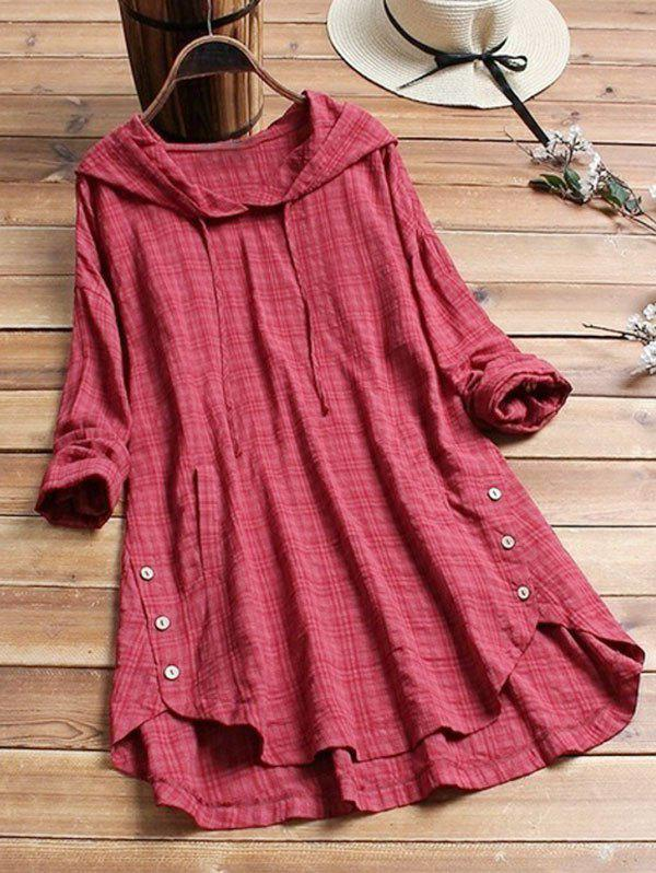 Cheap Plus Size Hooded Checked Tunic Blouse