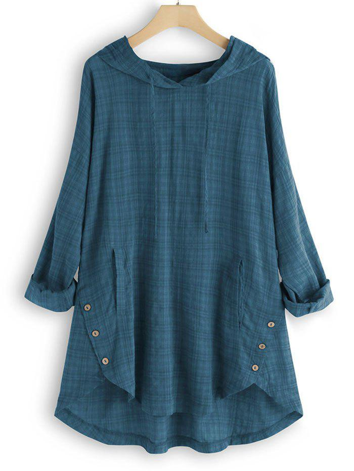 Discount Plus Size Hooded Checked Tunic Blouse