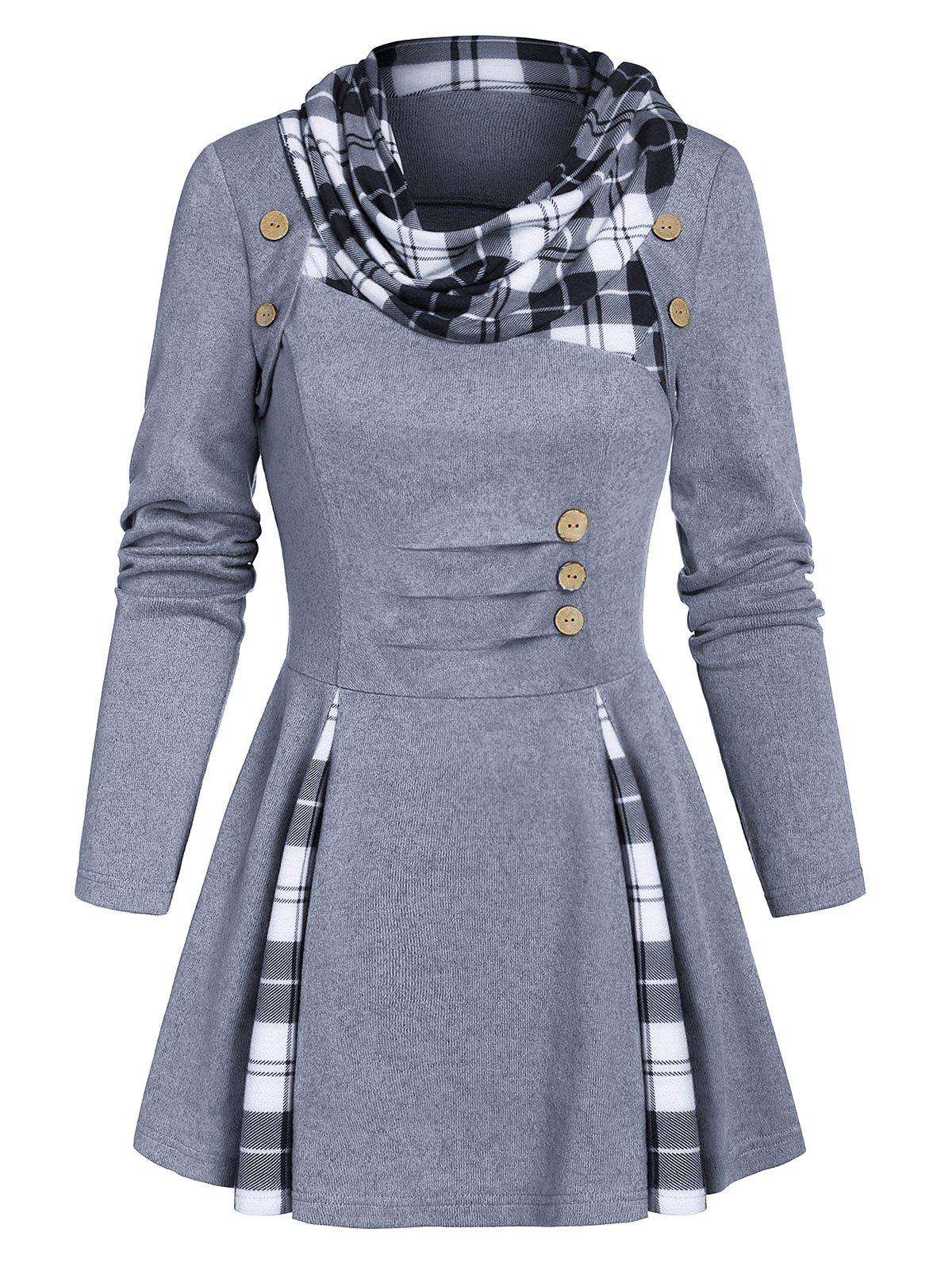 Cheap Plaid Print Ruched Mock Button Sweater