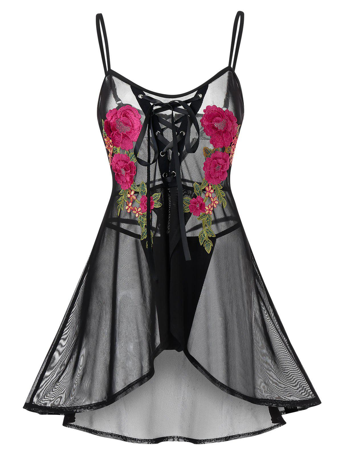 New Plus Size Flower Embroidered Lace Up Lingerie Babydoll