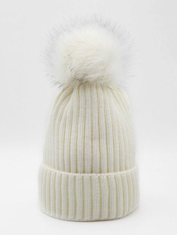 Trendy Fuzzy Ball Fluffy Solid Knit Cap
