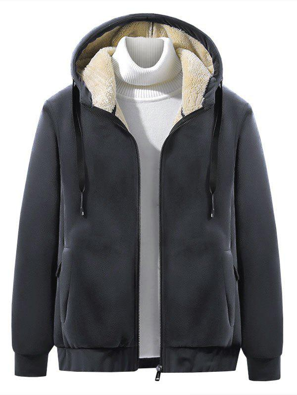 Outfits Solid Color Plush Hooded Jacket