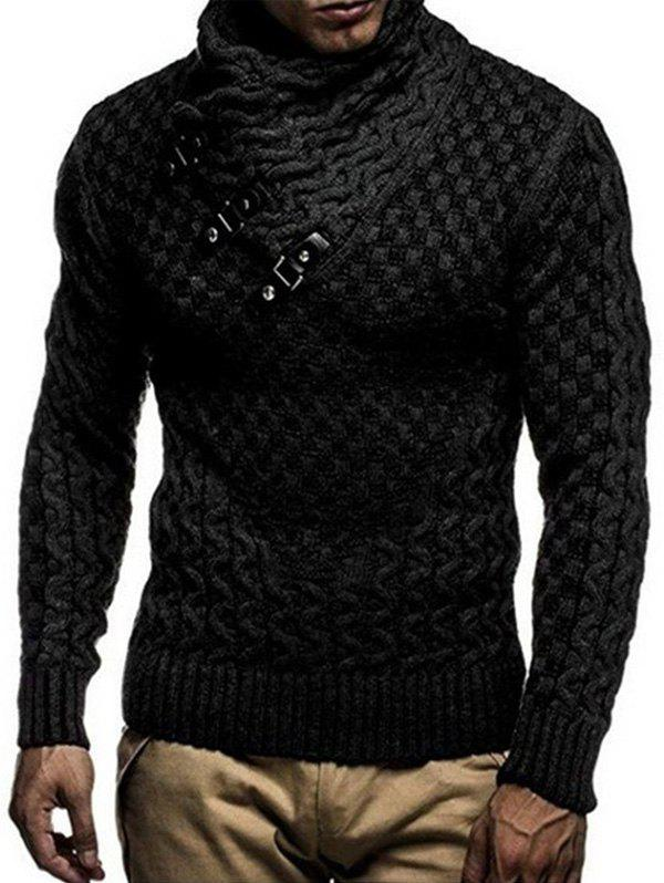 Latest Shawl Collar Snap Button Pullover Sweater